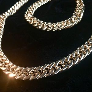 Other - DOUBLE CUBAN LINK 18K GOLD CHAIN BRACELET ITALY